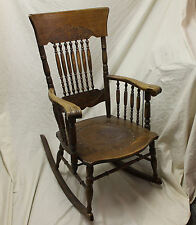 Antique Oak Armed Pressed Back Rocker U2013 Leather Seat Insert