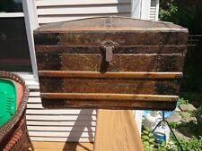 """dome top trunk steamer tin embossed 20"""" x 14""""Victorian small child doll antique"""