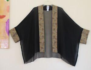 Yasuko OS S M L XL 1X 2X Soie Japonais Art-Wear Obi Floral Textile Kimono Veste