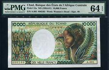 Chad 1984-91, 10000 Francs, A001, P12a,Sign 9, PMG 64 EPQ UNC