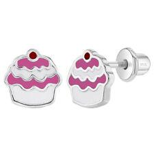 925 Sterling Silver Enamel Cupcake Earrings Screw Back Toddlers Little Girls