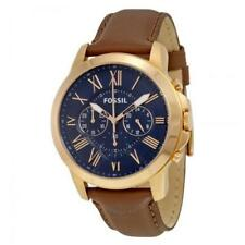 Fossil Grant Rose Gold Tone Blue Dial Brown Leather Mens Watch FS5068