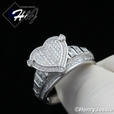 WOMEN 925 STERLING SILVER GOLD/SILVER BLING HEART SHAPE ENGAGEMENT RING*S88