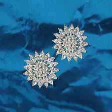 Exclusive Earrings Sun Star Bloom Real 925 Sterling Silver Cz
