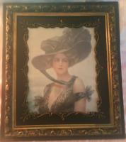 Vintage Antique Victorian, Faux Gold Gilt Wood Picture Frame, Pastel Print