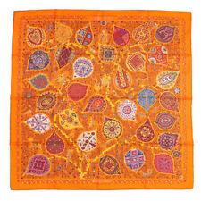 Hermes Scarf Stole L'ARBRE DE VIE Christine Henry Orange Silk Auth New Carre 90