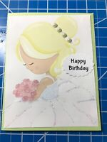Birthday Card Sweet Young Girl Roses White Glitter Dress Pearls InHair Handmade