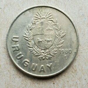 Uruguay Nuevo Peso, 1980, copper-nickel coin, KM# 74, coral flower