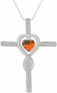 """Simulated Citrine Cross Love Infinity Pendant W/ 18""""  Rope In 10K Solid Gold"""