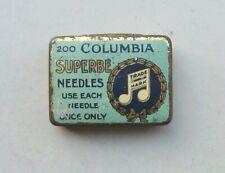 "Early version Columbia "" Superbe "" Gramophone / Phonograph Needle tin & needles"