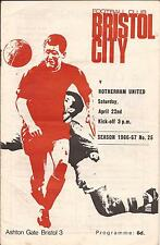 Football Programme - Bristol City v Rotherham United - Div 2 - 22/4/67