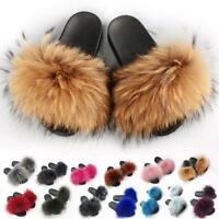 2019 Women's Real Raccoon Fur Fluffy Flat Slippers Slider Luxury Summer Shoes