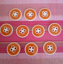 LOT DE 10 BOUTONS ORANGE 16 mm VINTAGE ANCIEN