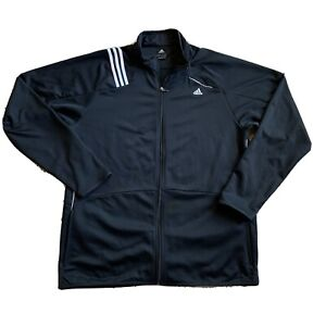 Adidas ClimaWarm Mens 2XL Soft Shell Jacket Fleece Lined Black Full Zip 1B
