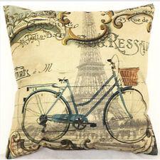 Retro Bicycle Paris Eiffel Tower Pillow Case Cushion Cover Square Home Decor