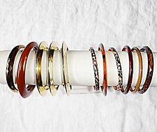 VINTAGE RETRO LUCITE PLASTIC METAL BROWN GOLD BANGLE COLLECTION 11 STYLISH CHIC