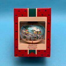 1987 Hallmark Peanuts Glass Christmas Ornament MIB