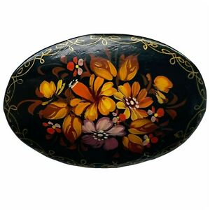 Vintage 1991 Russian Hand Painted Floral Orange Flowers Gold Edge Lacquer Brooch