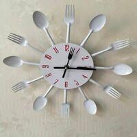 Kitchen Wall Clock Creative 3D Home Decors Modern Watch Utensils Designs Quartz