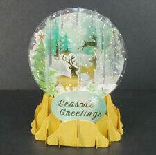 Prancing Reindeer Christmas Greeting Card Snow Globe Pop Up Holiday Card