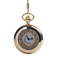 Große Dicke Kette Hohle Geschnitzte Dichte Blumen Taschen Uhr Golden Weiße 4I