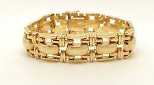 "14K Italian Yellow Gold Bracelet Wide Link Bracelet Vintage 7 3/16"" 32.6g Unisex"
