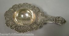 Antique 800 Continental Silver Floral Decorated Tea Strainer