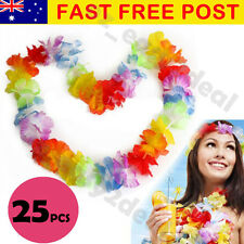 25 Pcs Hawaiian Beach Party Flower Lei Leis For Hula Costume Fancy Dress 105c