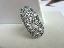925 Thailand silver and marcasite filigree Art deco large  ring - size 7