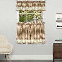Gingham Stitch Live Laugh Love Kitchen Curtain Tier Pair or Valance Toast