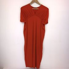 Ladies COS Dress Quirky Bodycon Orange Ruffle Sleeves Small UK 10 | A8