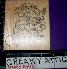 BUNNY RABBITS IN STOCKING RUBBER STAMPS HAPPEN STUFFER