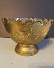 Vintage Brass Etched Floral Bowl Centerpiece Trinket Dish Antique