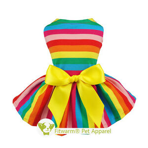 Fitwarm Rainbow Dog Clothes Dress Striped Pet Tee Shirt Cotton Cat Dress S M L