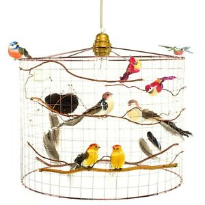 Copper Birdcage Chandelier with artificial birds in 3 sizes (XL, L and M)