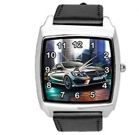SQUARE SPORT CITY RACING BLACK REAL LEATHER WATCH FOR Mercedes Benz CAR FANS E2