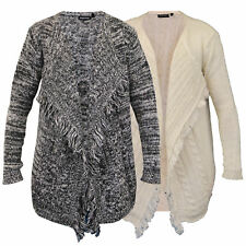 Ladies Womens Cable Knitted Open Front Chunky Boyfriend Cardigan By Brave Soul