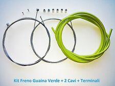 """Kit Freno Guaina Verde + 2 Cavi + Terminali per bici 20""""-24""""-26"""" Graziella"""