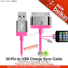 iPhone 4/4s iPad 1 2 3 & 4 30-Pin to USB Charge Sync Cable Belkin F8J041cw2m-PNK