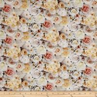 Elizabeth's Studio Digital Garden White Roses 100% cotton fabric by the yard