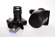 Genuine Real Leather Full Camera Case Bag for Olympus OMD EM5 II M2 Black Open