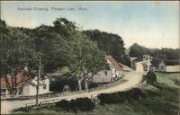 Pleasant Lake MA RR Railroad Crossing c1910 Postcard