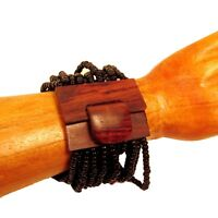 Shiny Black Color Handmade Beaded Stretch Wood Buckle Seed Bead Cuff Bracelet