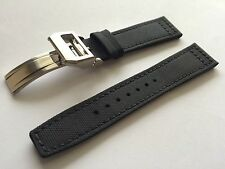 20mm Nylon Fabric Leather Watch Band Strap for iwc portuguese & 18mm fold clasp