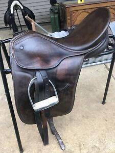 Keiffer Dressage Saddle 17.5inch Seat Brown Covered Buttons