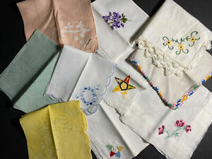 Vintage Ladies Handkerchief LOT 10 linen lace embroidery crochet Floral & Solid