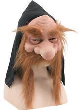 Dwarf Goblin Gnome Troll Black Hooded Mask Brown Moustache Fancy Dress Accessory