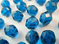 30Pc 8mm Teal Blue Green Fire Polish Czech Glass Faceted Round Beads (FC821)