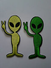 2 x Green Alien Iron on Patch Brand New Sew on Patch - Fancy Dress