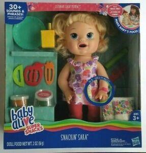 New Baby Alive Super Snacks Snackin Sara - Blonde Doll English Spanish Sounds